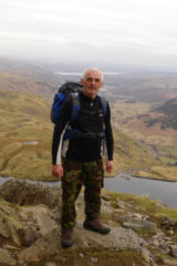 Terry Davies at the top of Jack's Rake on Pavey Ark, near Lake Windermere